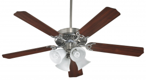 Quorum International 7752581652 Capri V 52-Inch 4 Light CFL Ceiling Fan, Satin Nickel Finish with Faux Alabaster Glass Shades and Reversible Blades