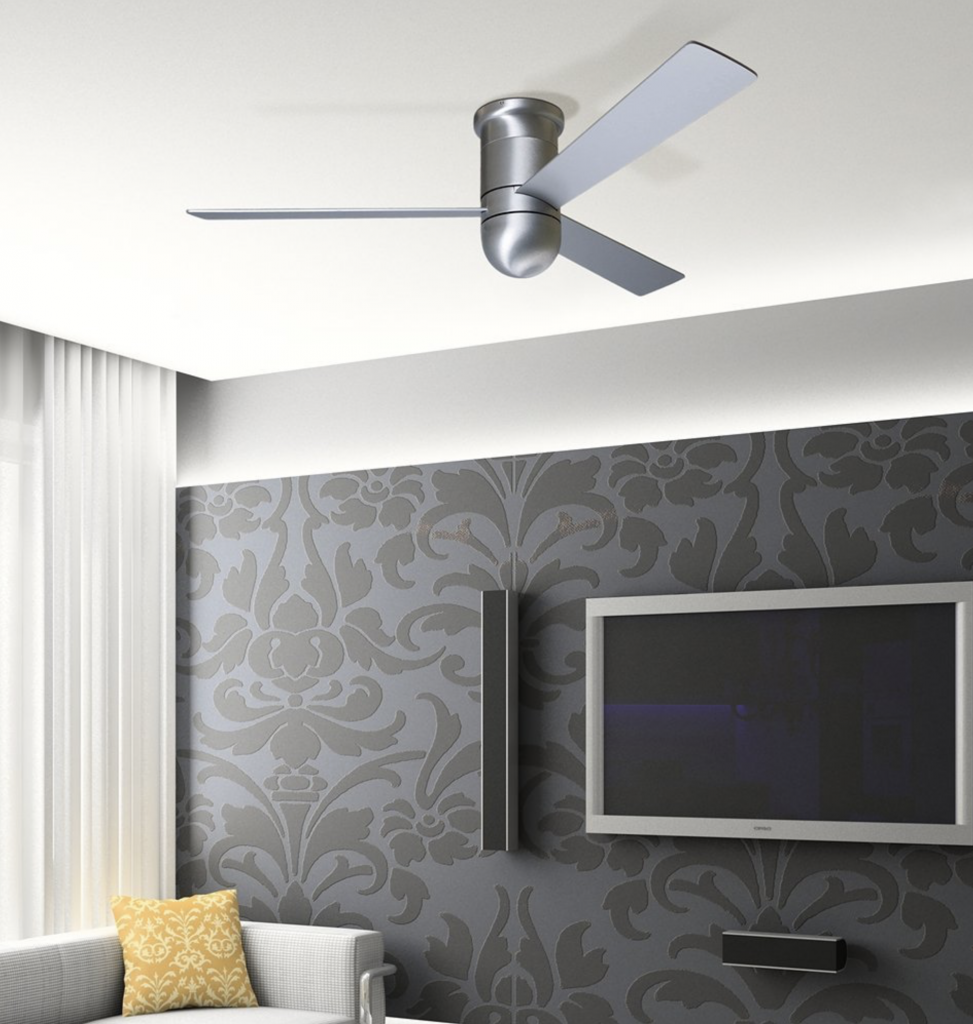 Modern Fan Company 52 inch Cirrus Aluminum Finish Hugger Ceiling Fan - living room