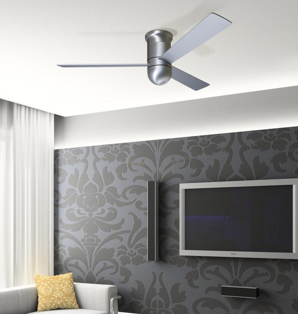 Modern Fan Company 52 inch Cirrus Aluminum Finish Hugger Ceiling Fan - living room